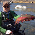 Kneeling fly angler holding a large colorful male rainbow trout on a sunny river.
